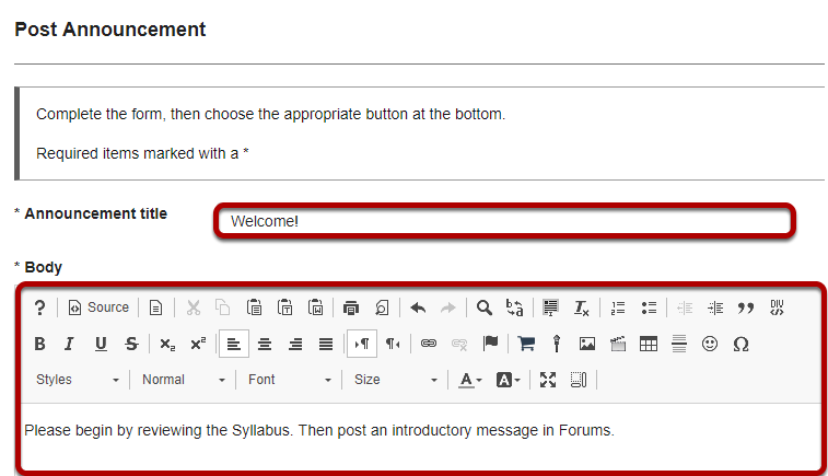 Title your announcement and add content.
