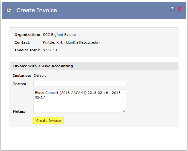 Create Invoice from 25Live