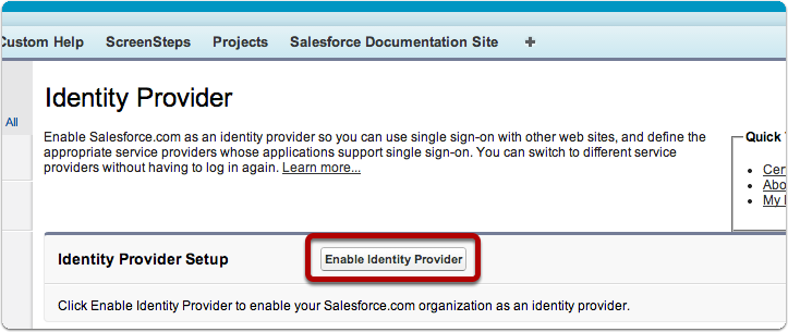 Enable Identity Provider