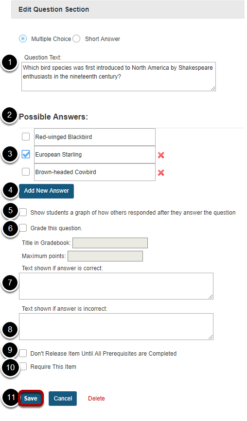 Add the question text and any additional settings as needed.