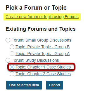 Select a forum or topic from the list of existing topics.