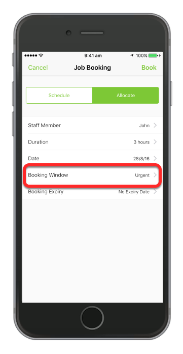 Tap Allocate then enter the details and make sure you set the booking window to Urgent