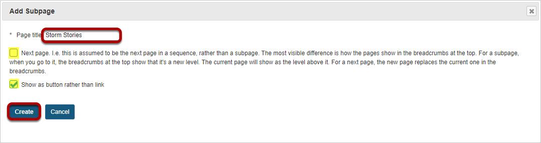 Add Subpage.
