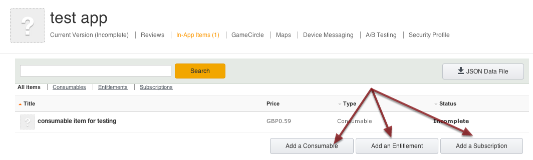 1. Creating an in-app purchase
