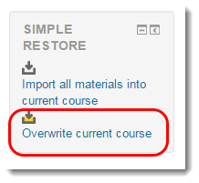 Overwrite current course is selected.