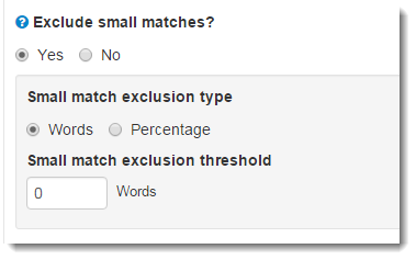 Exclude small matches options