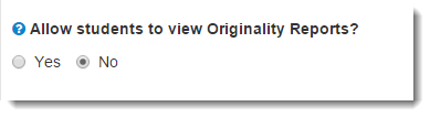 Originality Report option