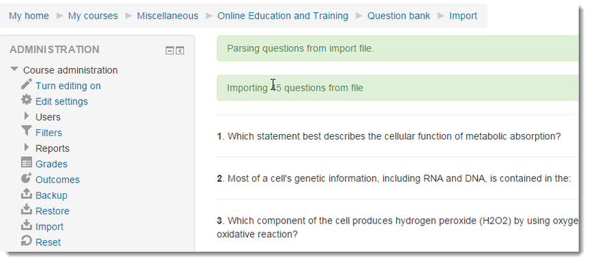 List of imported questions displays