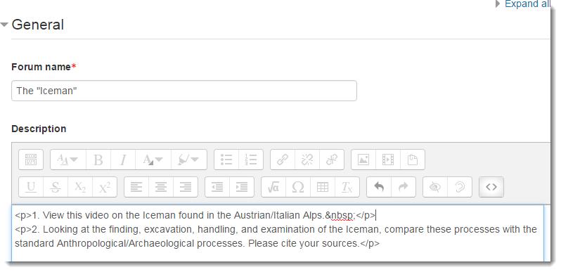 Edit forum page is displayed.