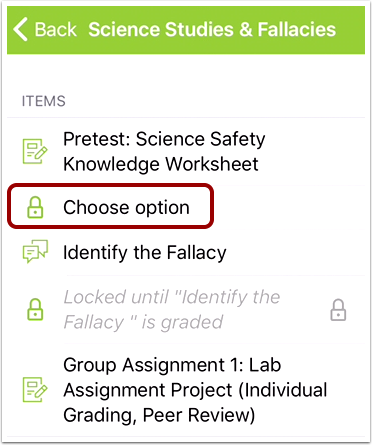 Choose Assignment Option