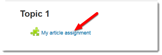 My article assignment link is selected.