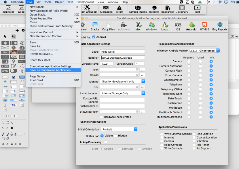 Configure the Standalone Application Settings