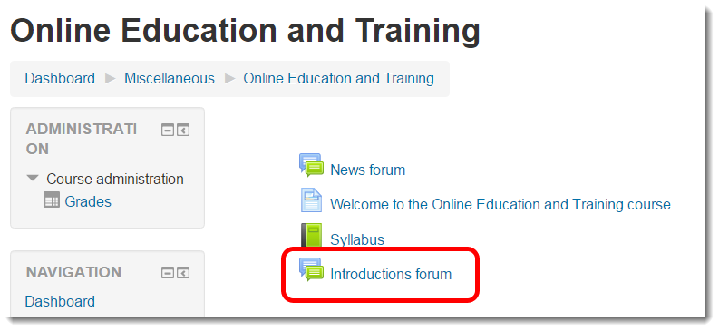 Introductions forum link selected.