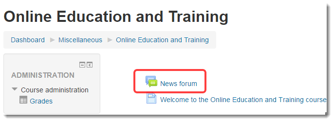 News forum link is selected