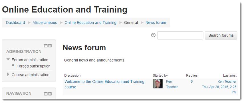 News forum page