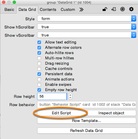 Getting Data In A Row Behavior