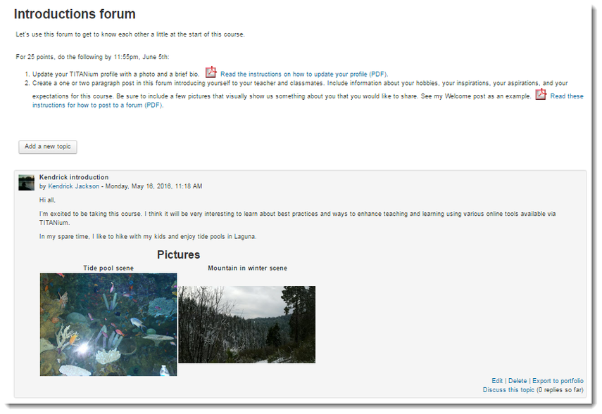 forum posts are displayed