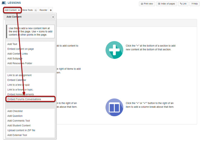 Click Add Content, then Embed Forum Conversations.