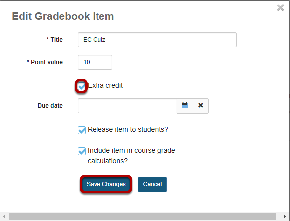 Check the box next to Extra Credit and click Save Changes.