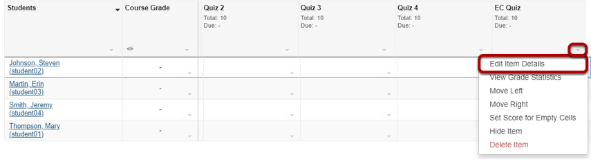 Click Edit Item Details for the gradebook item.