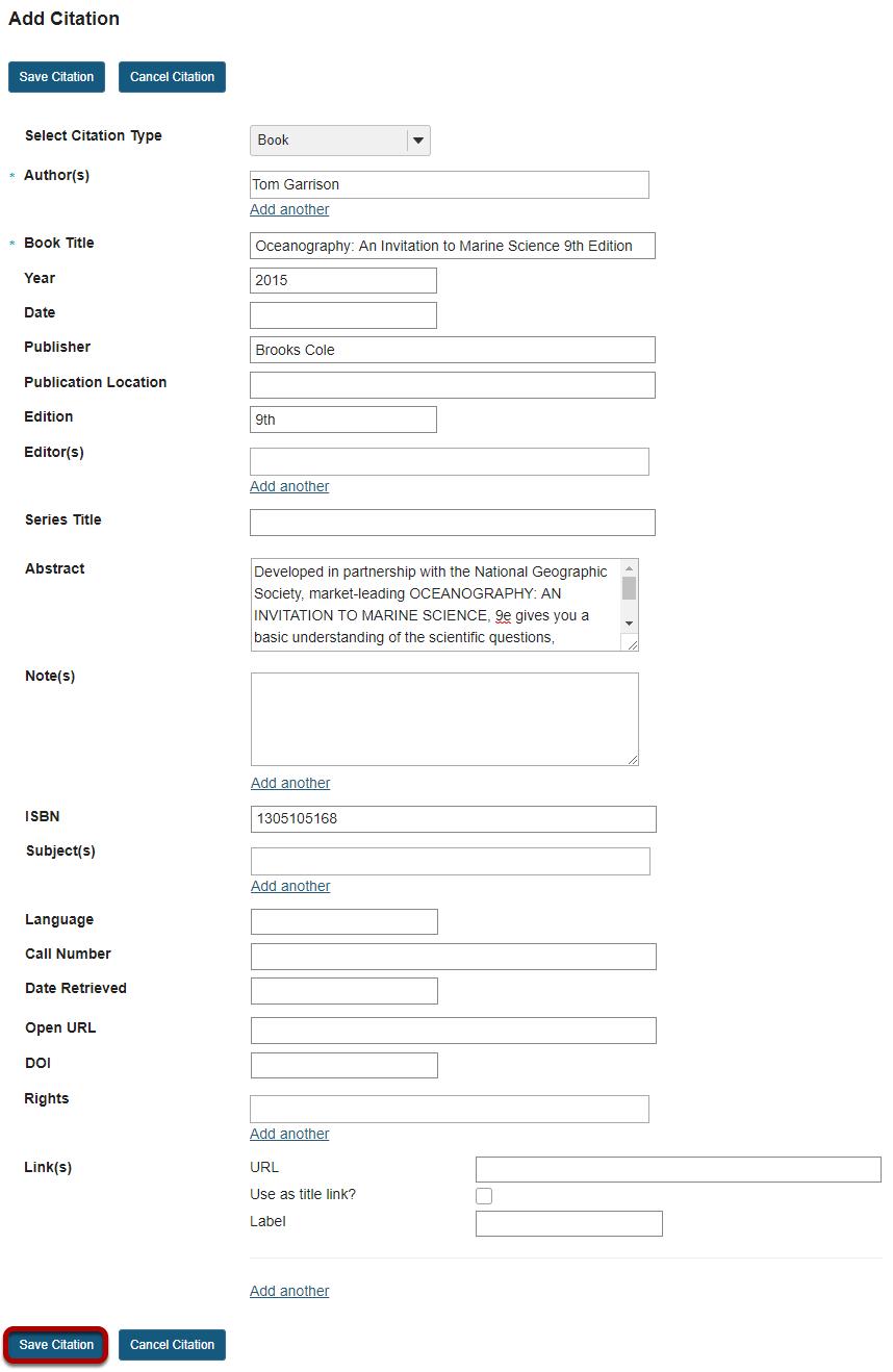Enter citation information, then Save.