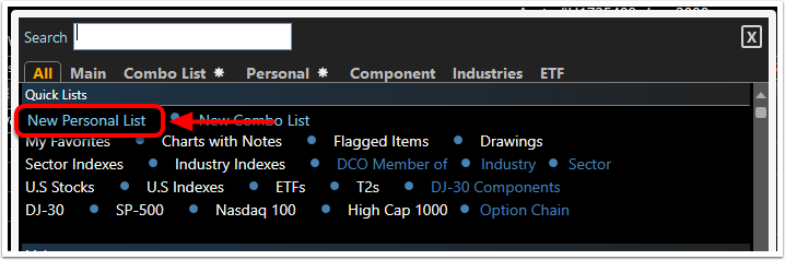 2. Select Create New Personal WatchList.