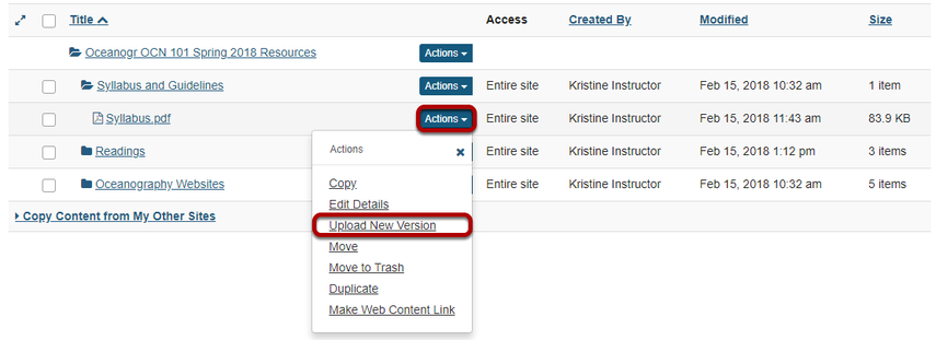 Click Actions, then Upload New Version.
