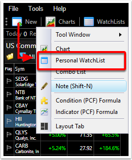2.  Select Personal Watchlist.