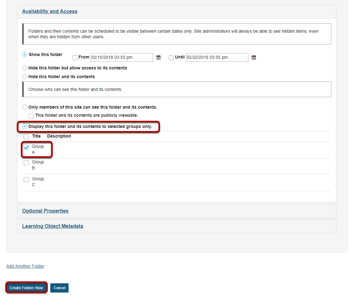 Enter item details, then create folder.