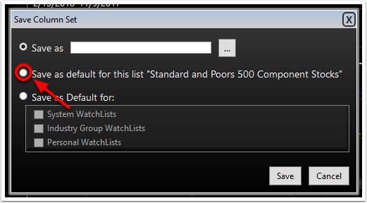 4. The second option allows you to save the column set to the active list.