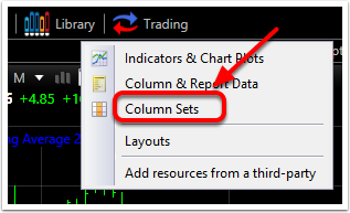 2. Left click on Columns Sets.