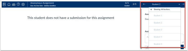 screenshot of student list in assignment