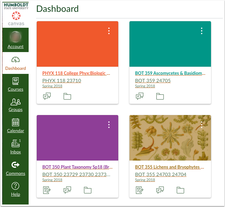 Canvas Dashboard with reordered course cards