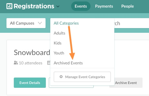Events page with Unarchive option
