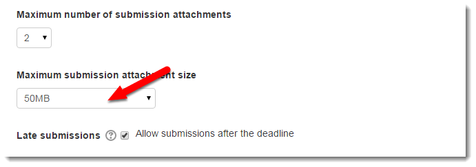 Maximum submission attachment is set to 50MB.