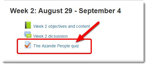 quiz link is selected.