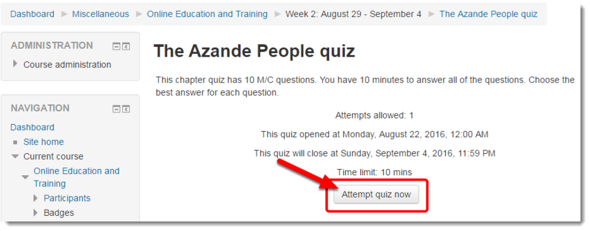 Attempt quiz now link is selected.