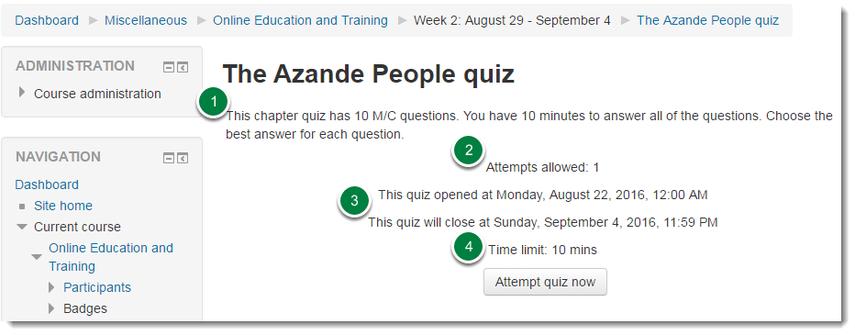 Quiz instructions