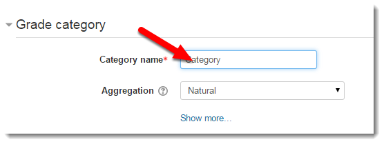 Category name field is selected.