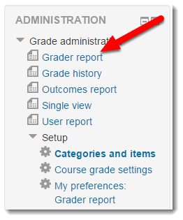 Grader report link is selected.