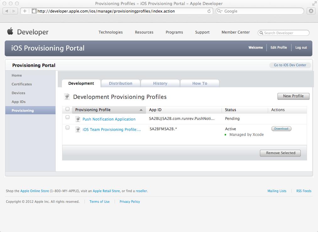 The new Push Notification Provisioning Profile