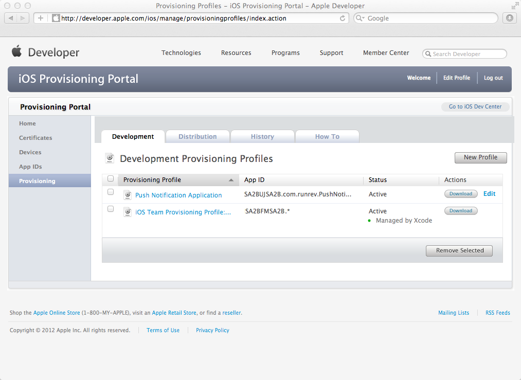 Downloading your Push Notification Provisioning Profile