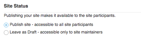 "Site Status (i.e published or unpublished) with ""Publish site"" radio button selected."