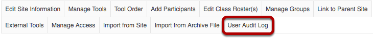 User Audit Log tab highlighted in Site Info tabs..