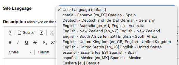 Site Language selection dropdown.