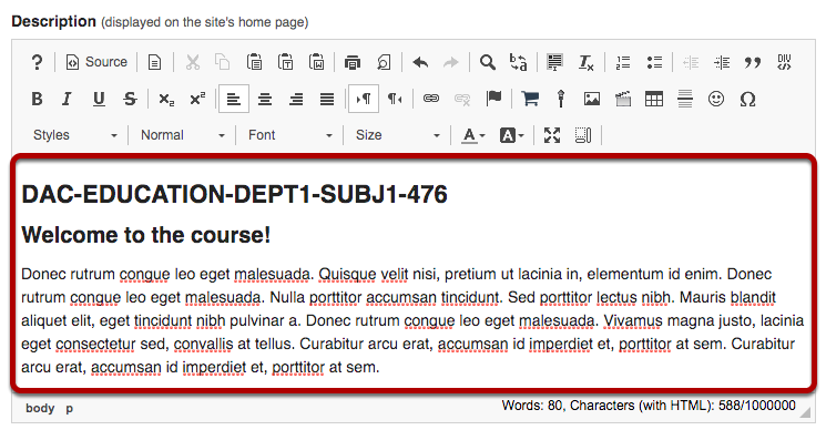 Site Description text area highlighted in Rich Text Editor.