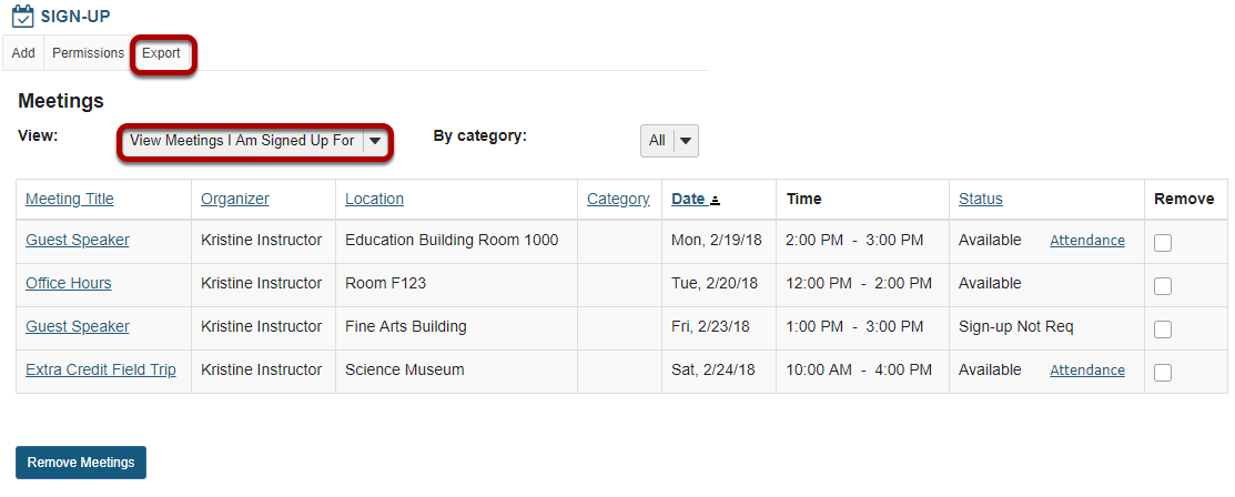 View All Meetings I Am Signed Up For.