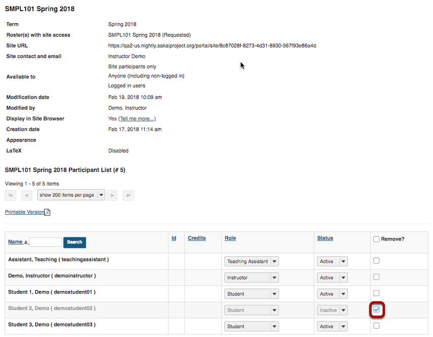 Site Info participant list with checkbox in Remove? column selected fo studnet 02.