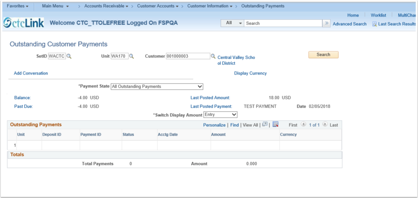 Viewing Outstanding Customer Payments