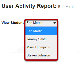 Select the student you want to view from the drop-down list.